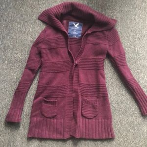 American Eagle Long Collared Cable Knit Cardigan